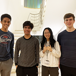 The successful Computer Science students, pictured left to right: Marc Harvey-Hill, Yash Shah, Nicole Choong and Matthew Elliot