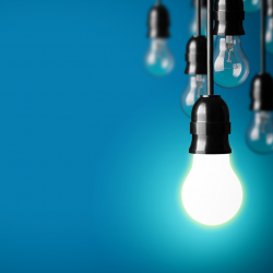 Light bulbs with blue background